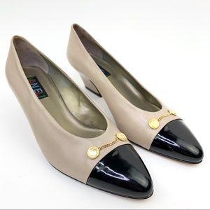 Vaneli low heel pump cap toe gold metal accents 9m
